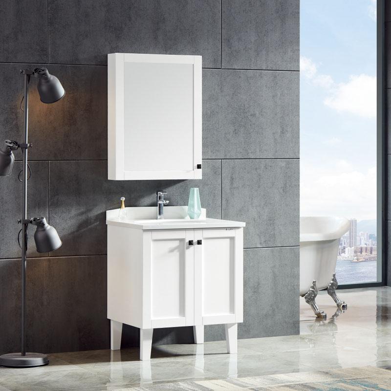 卫尚厂家现代实木落地浴室柜76白色系列