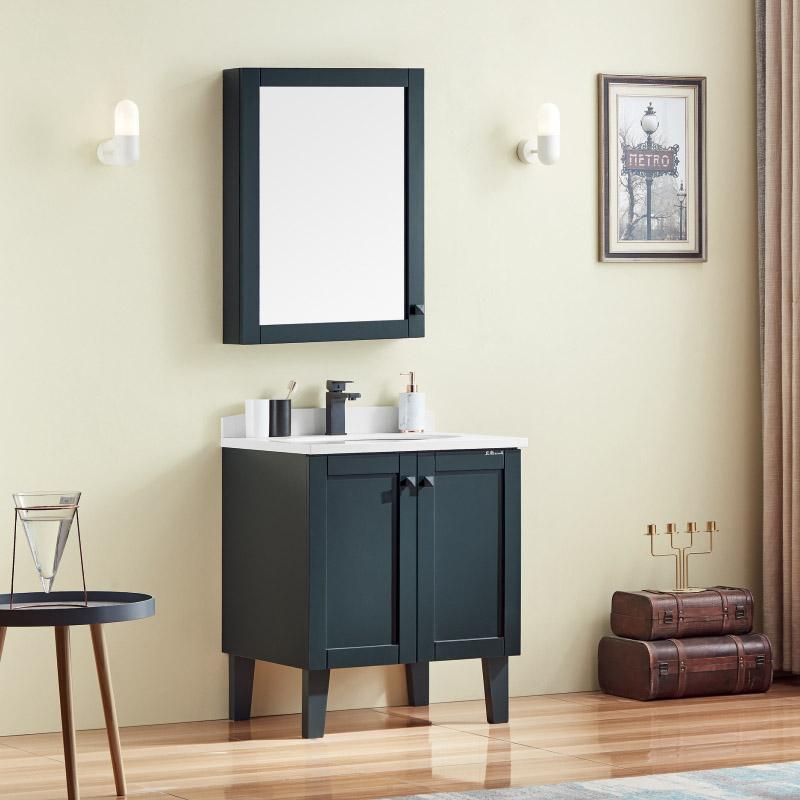厂家卫尚现代实木落地浴室柜76墨绿全烤漆系列