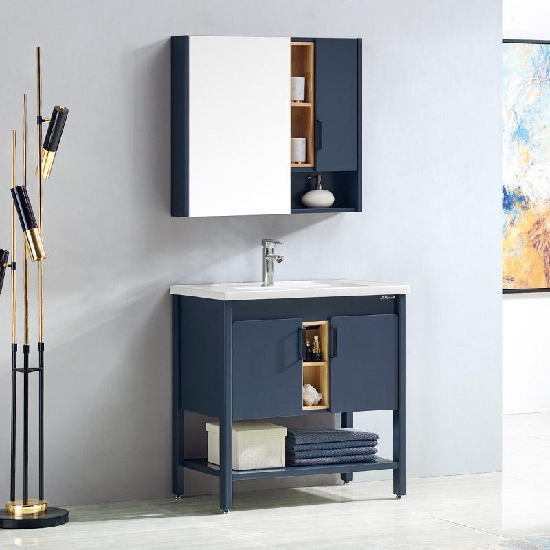 卫尚厂家现代实木浴室柜全烤漆65陶瓷盆系列