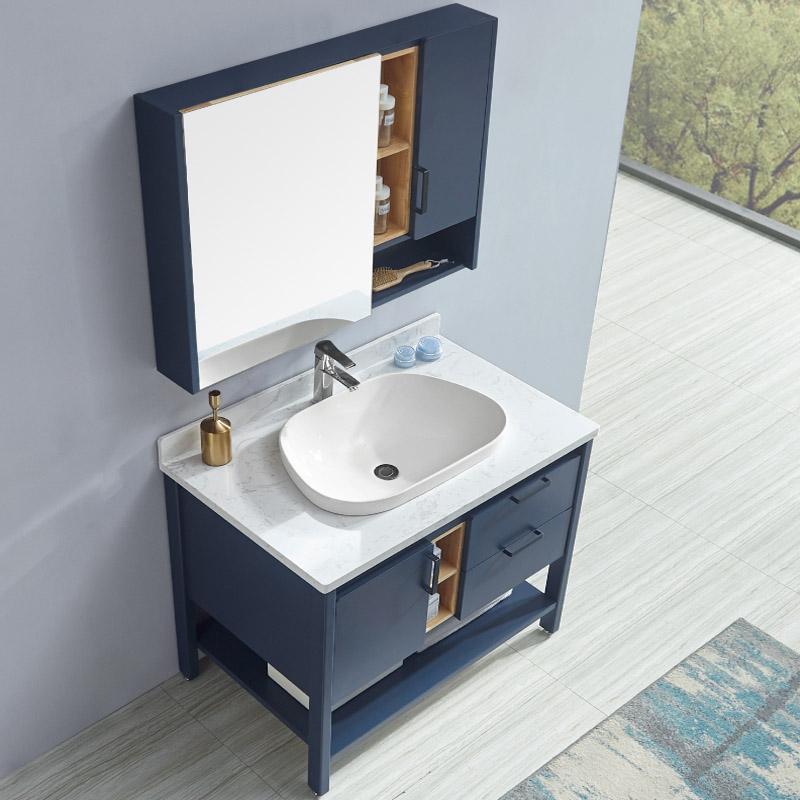 卫尚厂家现代实木浴室柜全烤漆65石材台面系列