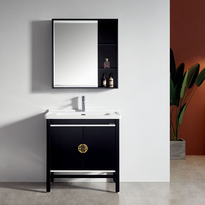 厂家美伽星新中式实木浴室柜1001/2/3落地全烤漆系列