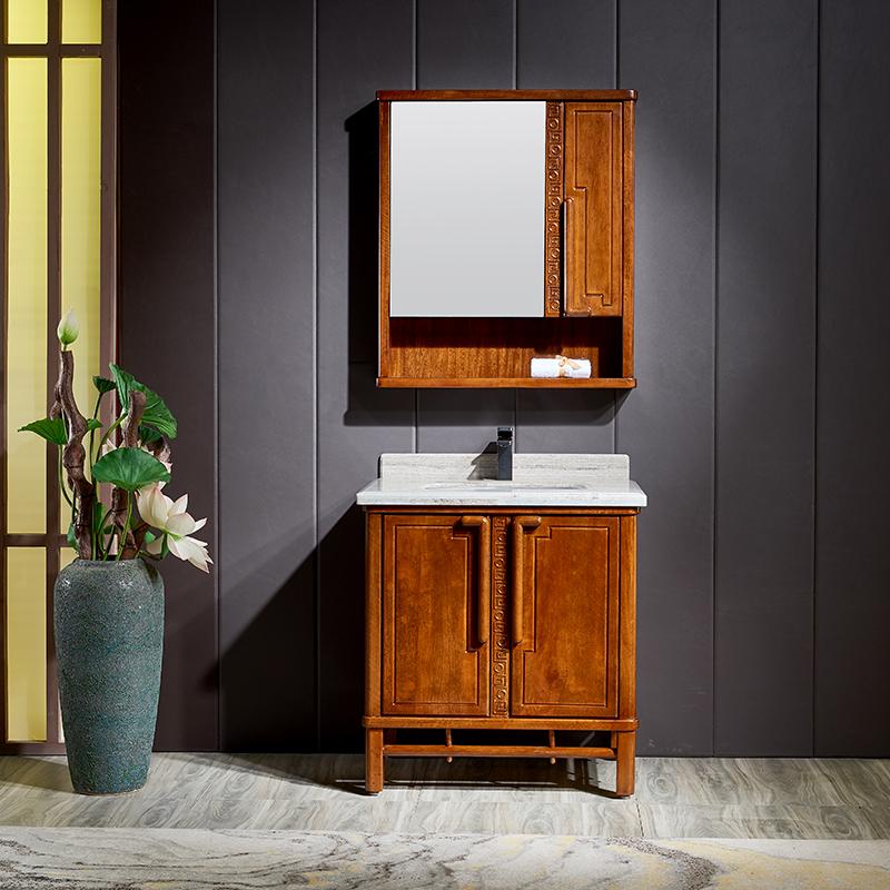 厂家富洛迪新中式实木浴室柜卡斯楠全烤漆落地Z2002系列