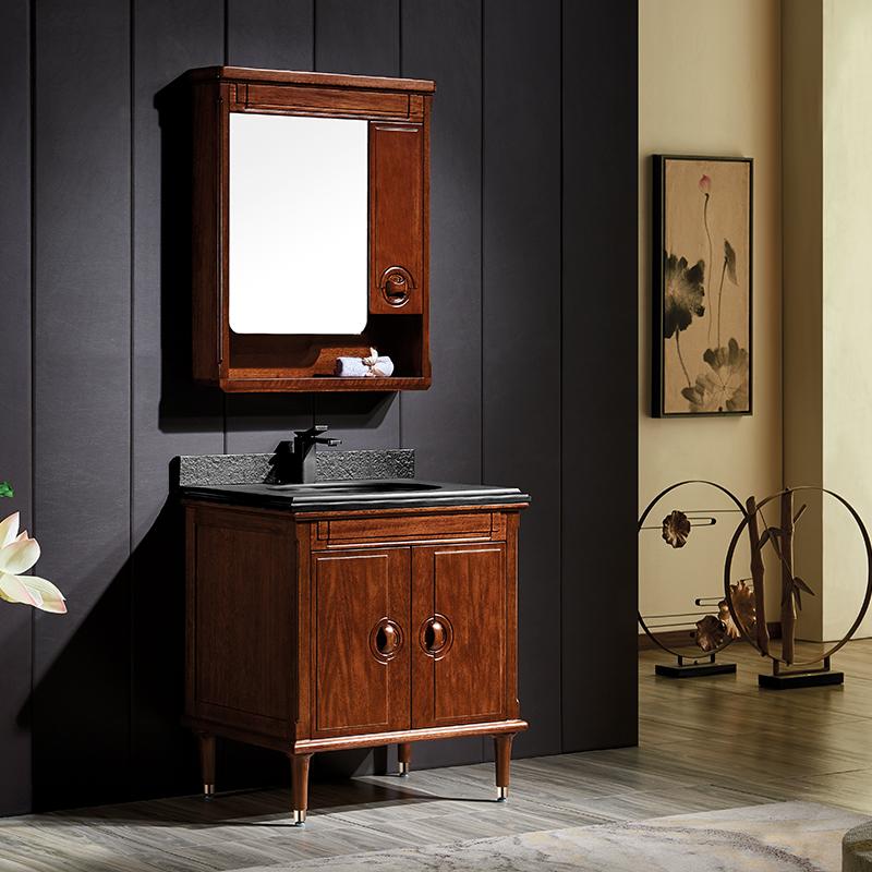 厂家富洛迪新中式实木浴室柜卡斯楠全烤漆落地Z2004系列