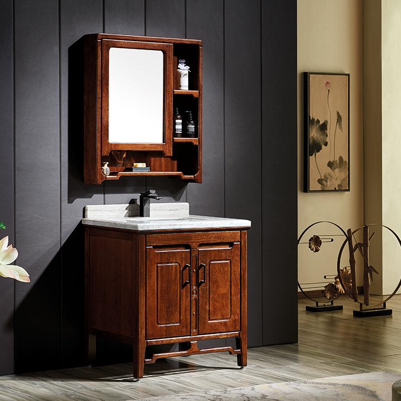 厂家富洛迪新中式实木浴室柜卡斯楠全烤漆落地Z2005系列