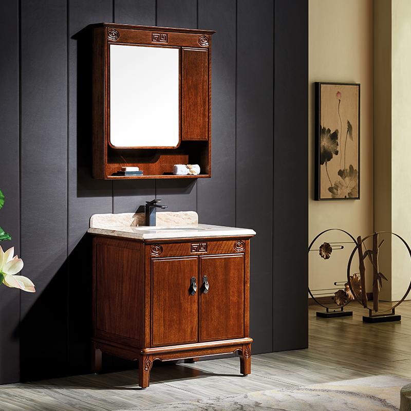 厂家富洛迪新中式实木浴室柜卡斯楠全烤漆落地Z2006系列