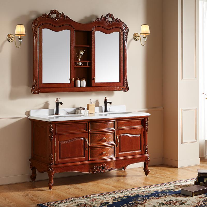 厂家富洛迪欧式实木浴室柜红橡开放烤漆落地4003-1500