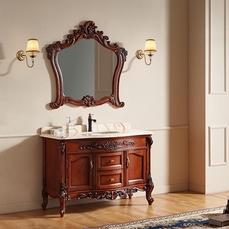 厂家富洛迪欧式实木浴室柜红橡开放烤漆落地4005-1200