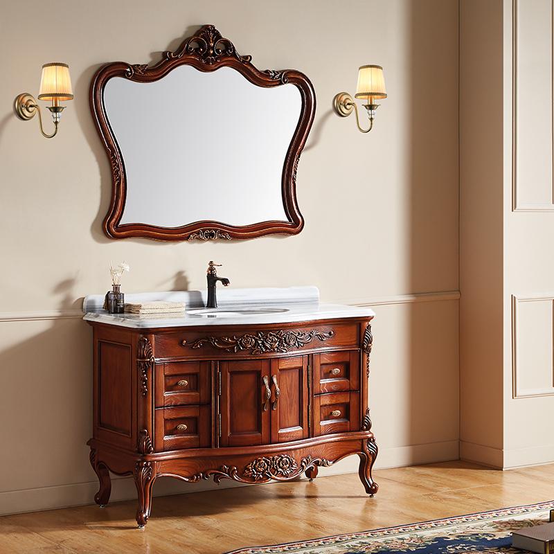 厂家富洛迪欧式实木浴室柜红橡开放烤漆落地4006-1200