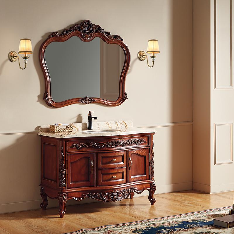 厂家富洛迪欧式实木浴室柜红橡开放烤漆落地4007-1200