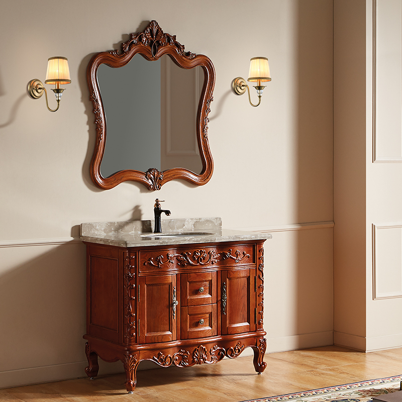 厂家富洛迪欧式实木浴室柜红橡开放烤漆落地4008系列