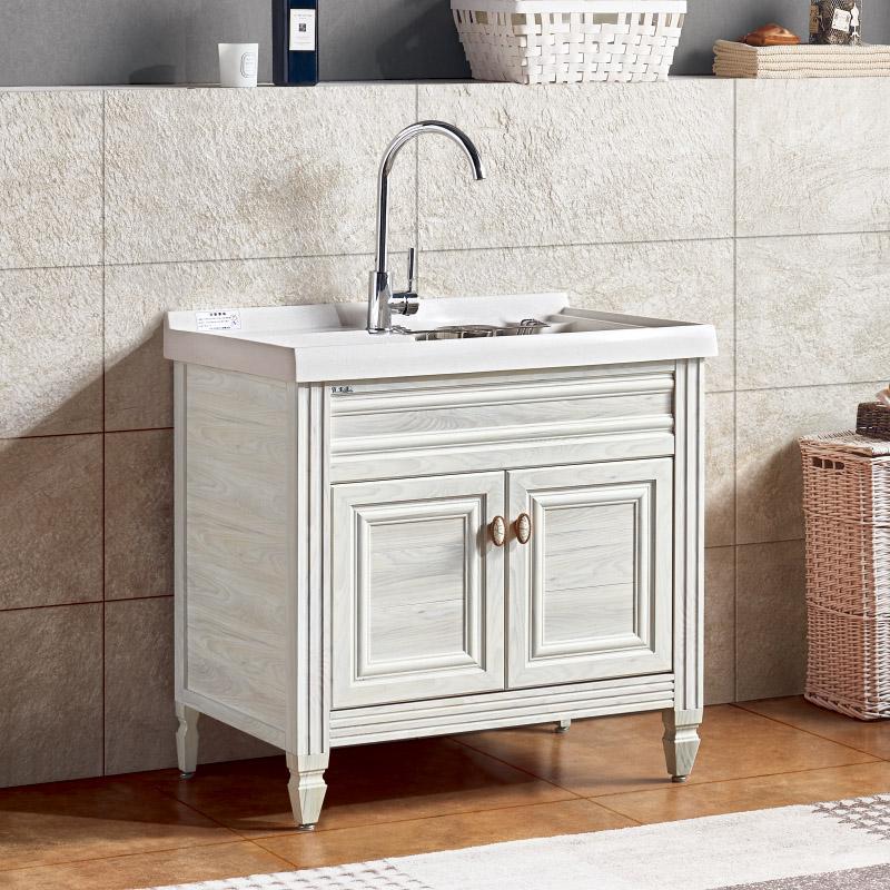 厂家喜依邦太空铝洗衣柜BL-D-820-白枫木,无镜柜