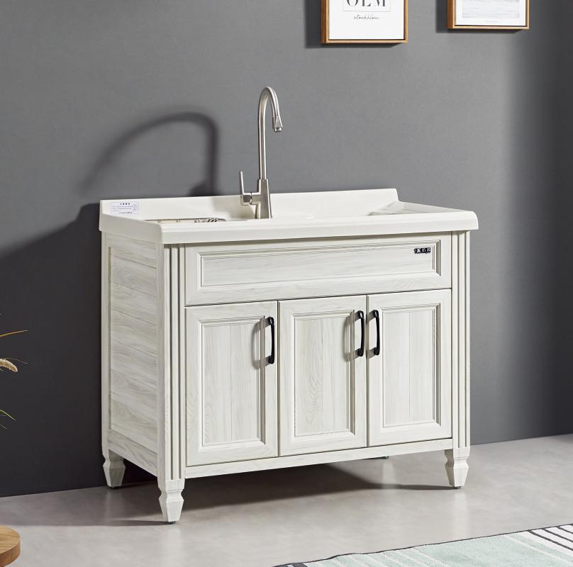 厂家喜依邦太空铝洗衣柜BL-D-1000-白枫木,无镜柜