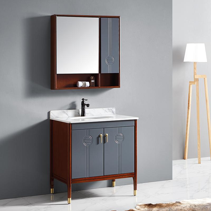厂家富洛迪现代实木浴室柜卡斯楠落地3009系列