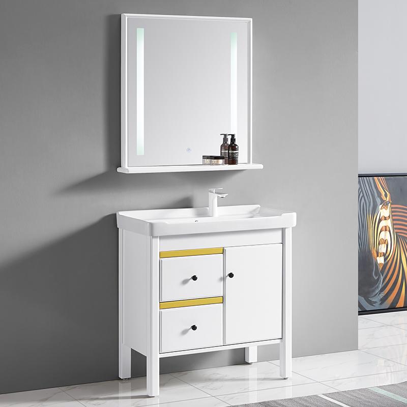 厂家富洛迪现代实木浴室柜橡木落地3012-80