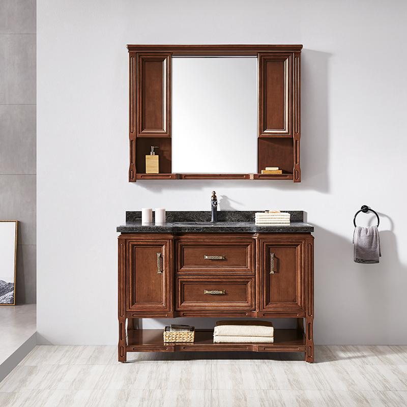 厂家华润恩卫生间浅胡桃美式实木浴室柜/洗漱台/洗手盆8020