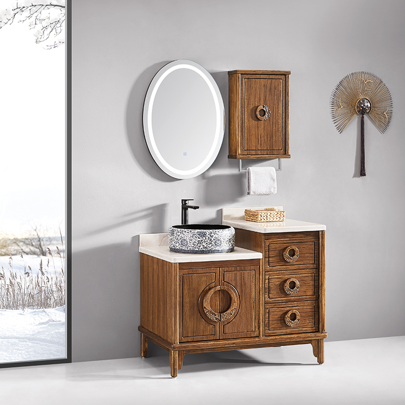 厂家华兰克卫生间胡桃木新中式实木浴室柜/洗漱台/洗手盆8032