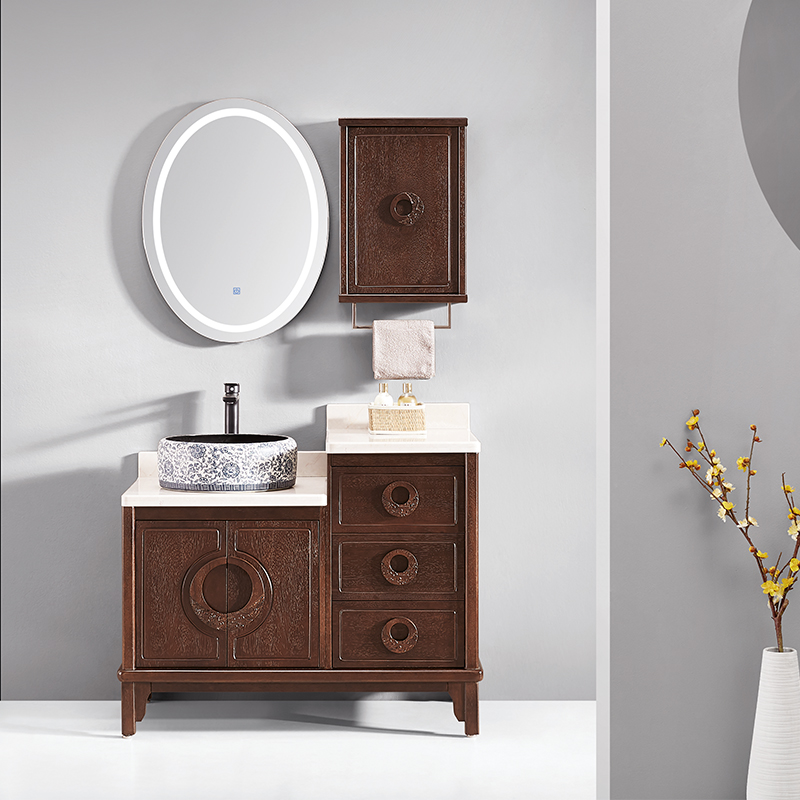 厂家华兰克卫生间胡桃木新中式实木浴室柜/洗漱台/洗手盆8032A