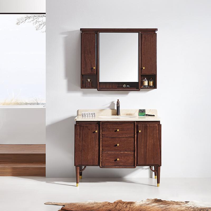 厂家华润恩卫生间胡桃木新中式实木浴室柜/洗漱台/洗手盆8035