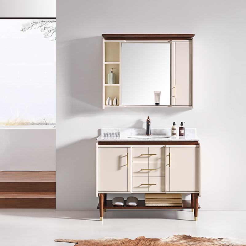 厂家华兰克卫生间胡桃木现代实木浴室柜/洗漱台/洗手盆8041