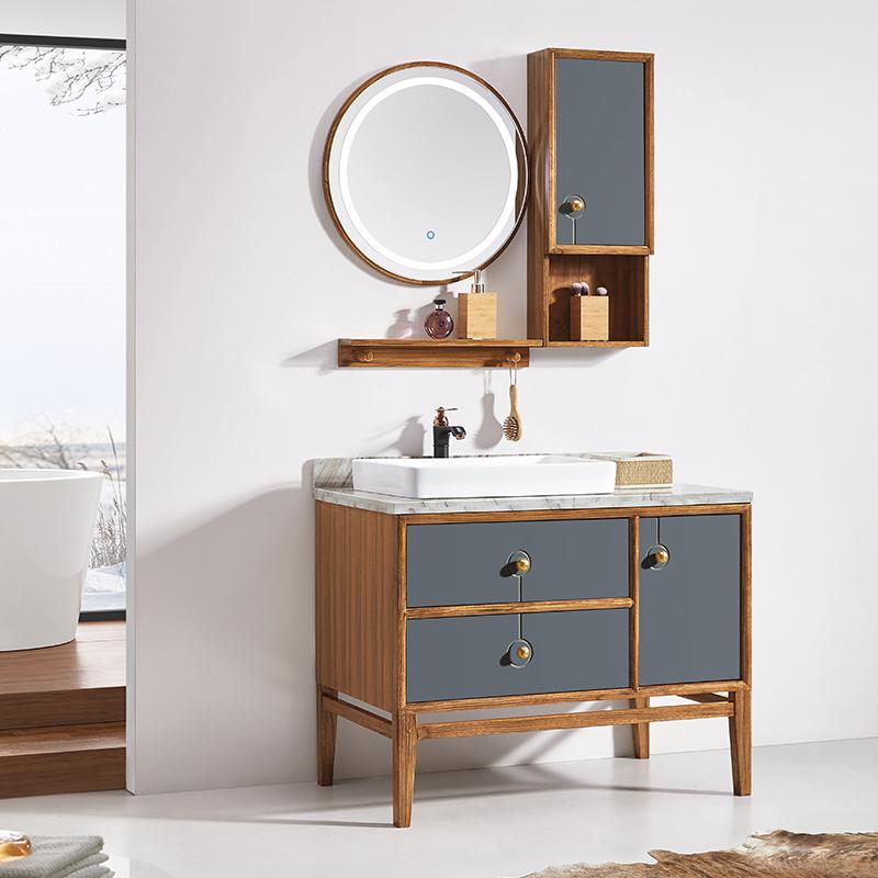 厂家华兰克卫生间胡桃木现代实木浴室柜/洗漱台/洗手盆8051
