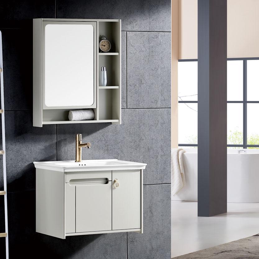 厂家木佬壳现代PVC浴室柜/洗手盆/面盆/洗漱台19B-1奶白系