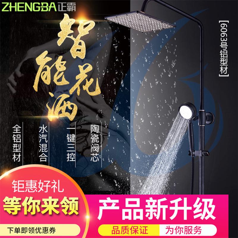 厂家正霸升级版太空铝陶瓷阀芯卫生间淋浴花洒套装016