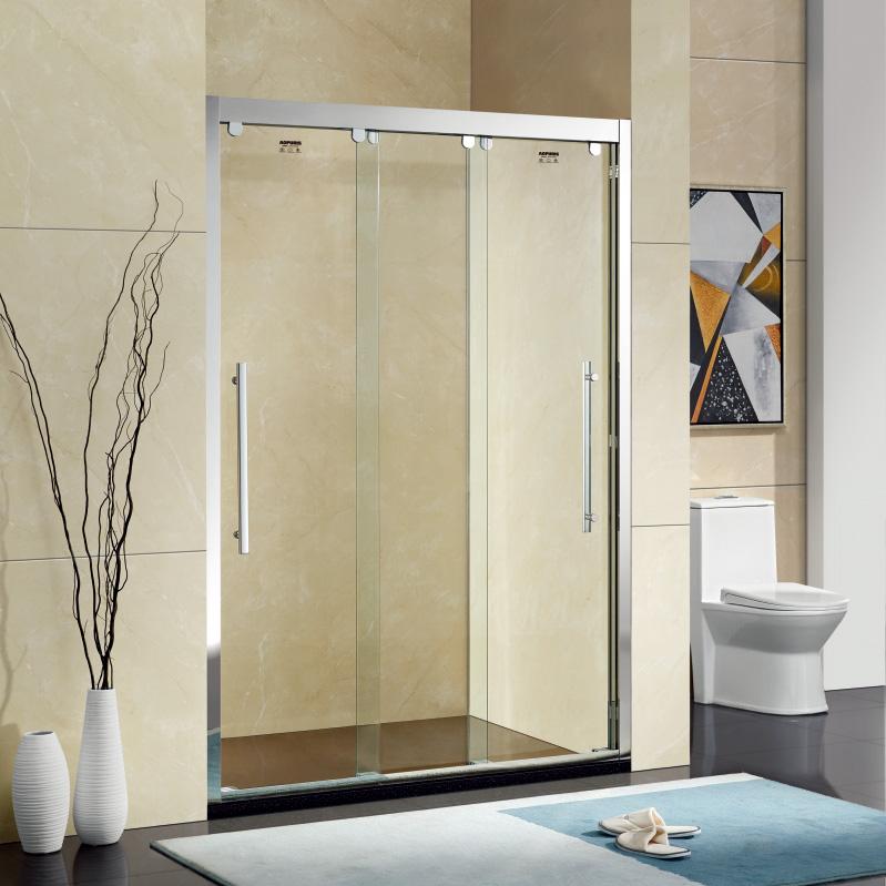 厂家美霖家不锈钢玻璃三移门不含石基防爆膜隔断/淋浴房A0047