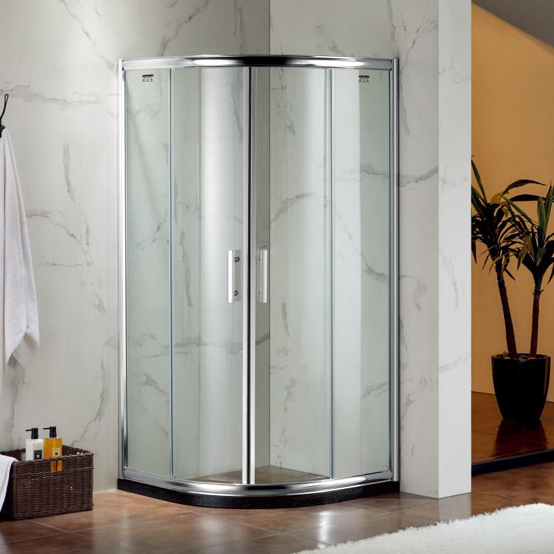 厂家美霖家航空铝带玻璃含石基不含防爆膜扇型淋浴房B016