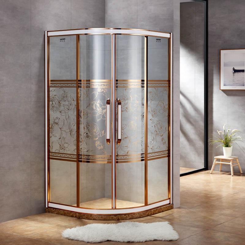 厂家美霖家不锈钢带玻璃含石基不含防爆膜扇型/淋浴房B043