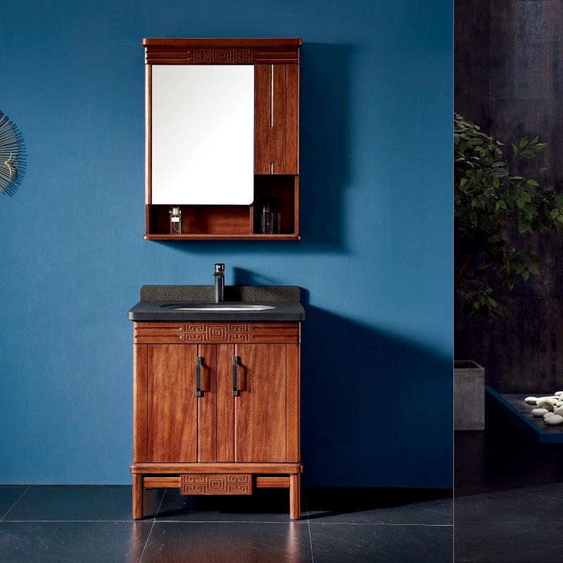 厂家一沐新中式实木浴室柜洗手盆面盆洗漱台落地M100-103