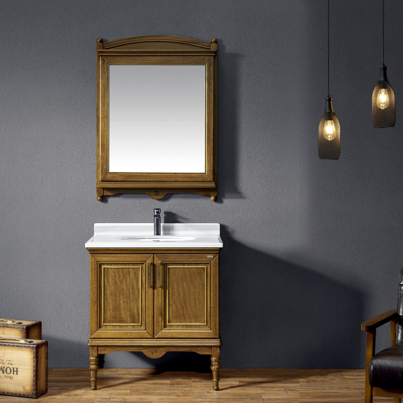 厂家一沐现代美式实木浴室柜洗手盆面盆洗漱台落地M111-113