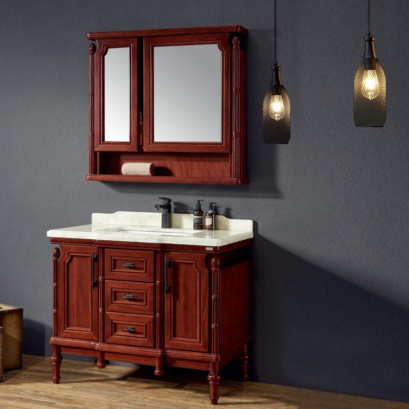 厂家易沐古典美式实木浴室柜洗手盆面盆洗漱台落地M121-123