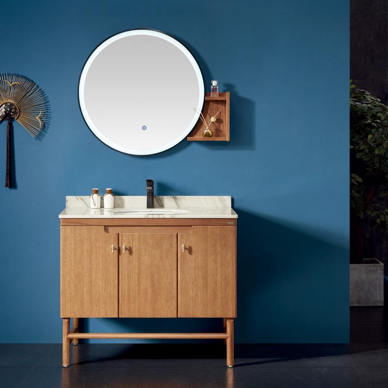 厂家易沐现代实木浴室柜洗手盆面盆洗漱台落地M183