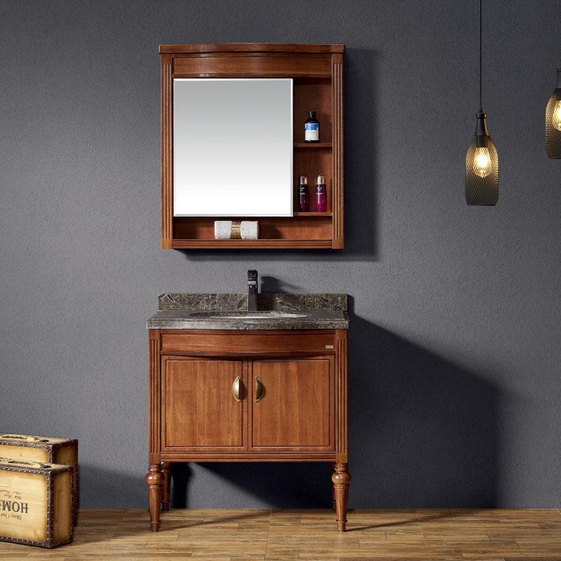 厂家一沐现代美式实木浴室柜洗手盆面盆洗漱台落地M201/2/3