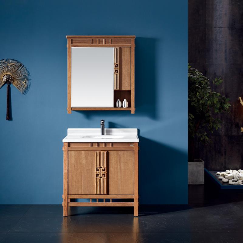 厂家易沐新中式实木浴室柜洗手盆面盆洗漱台落地M261/2/3
