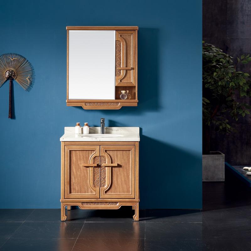 厂家一沐新中式实木浴室柜洗手盆面盆洗漱台落地M271/2/3