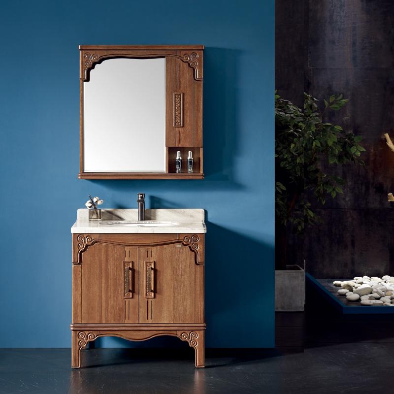 厂家一沐新中式实木浴室柜洗手盆面盆洗漱台落地M501/2