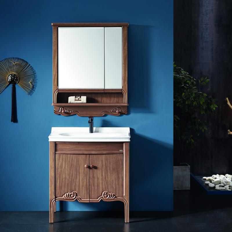 厂家一沐新中式实木浴室柜洗手盆面盆洗漱台落地M901/2/3图片