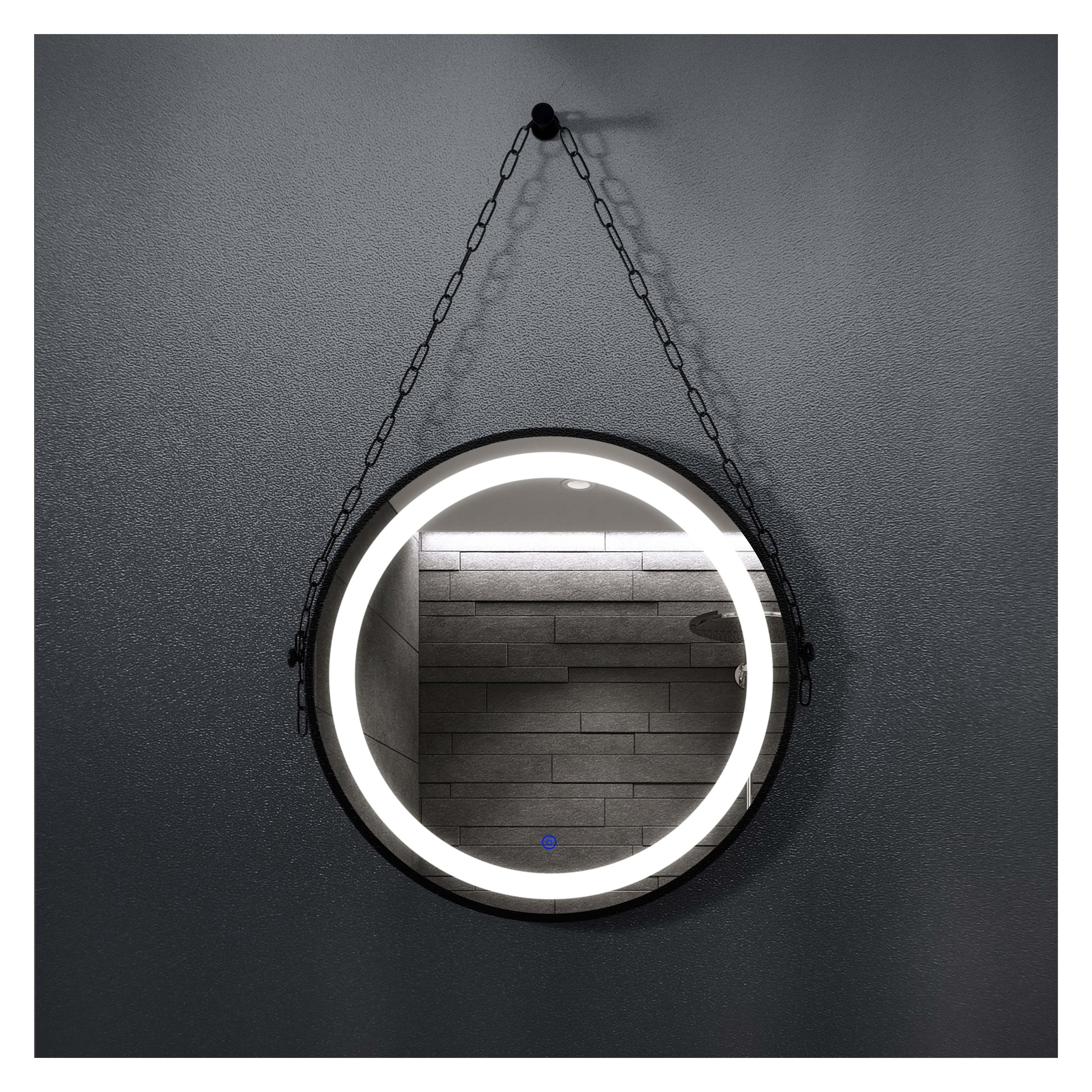 厂家吉品黑铁框圆直径700单开关带链条智能镜