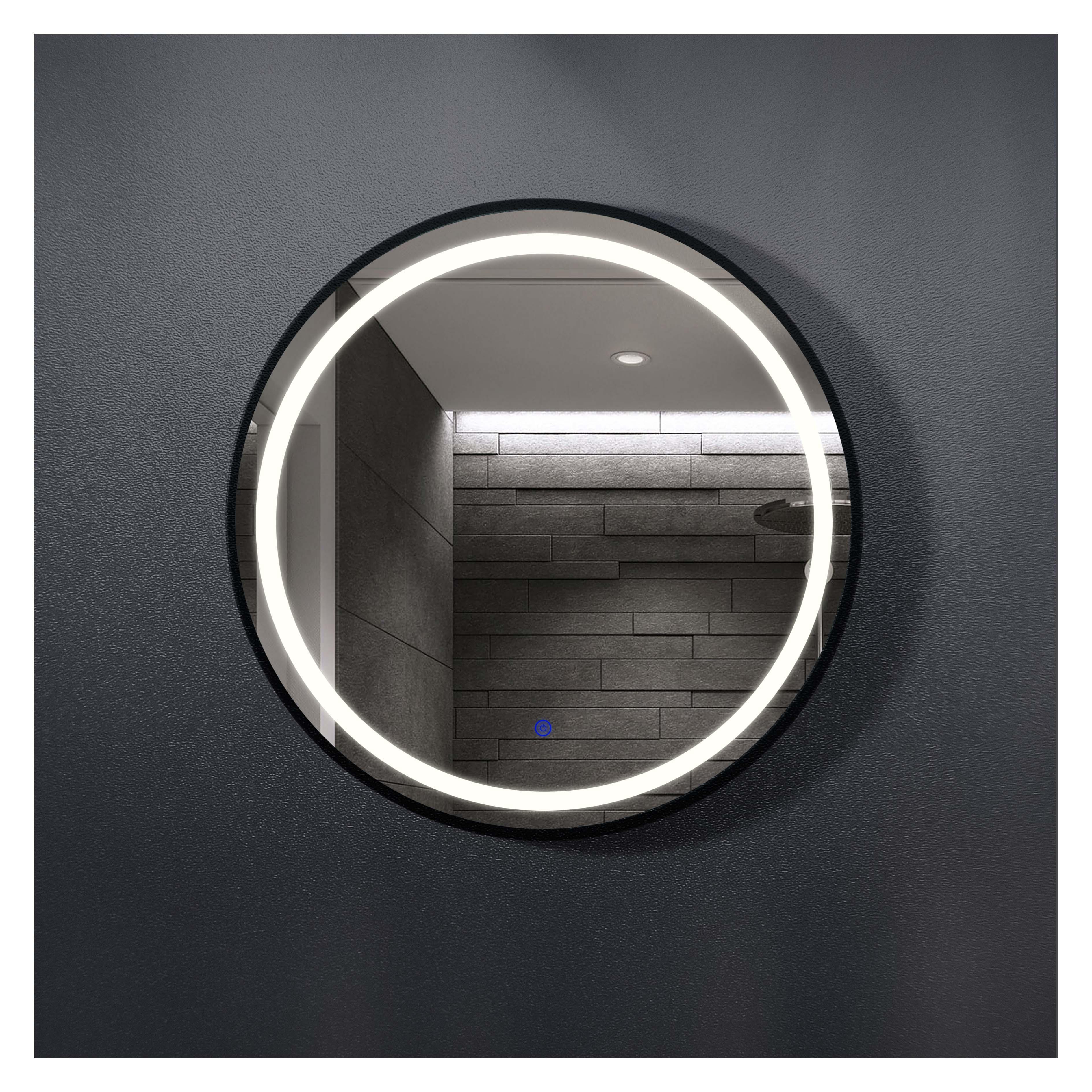 厂家吉品黑铁框圆直径700单开关智能镜
