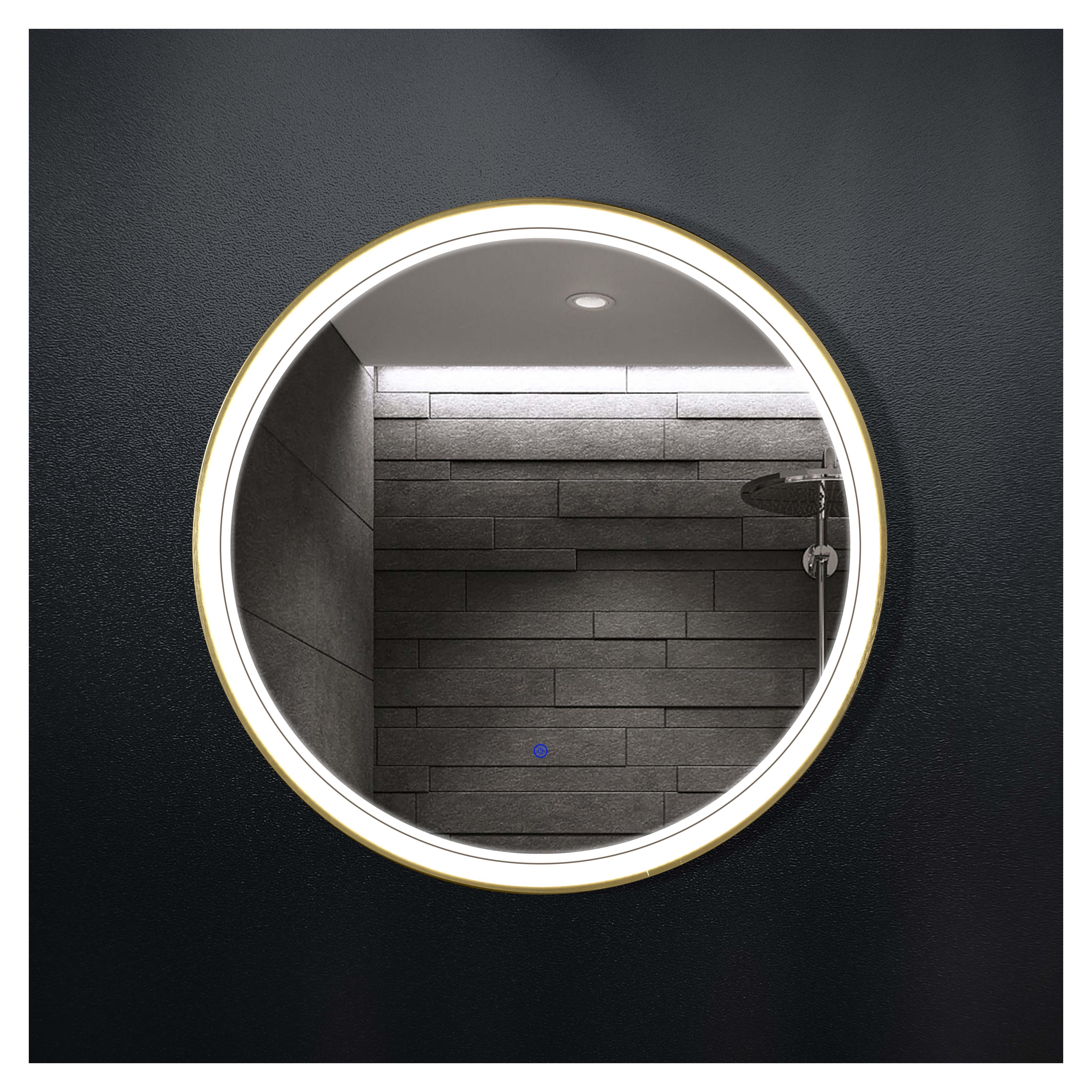 厂家吉品铝合金圆框直径700单开关智能镜