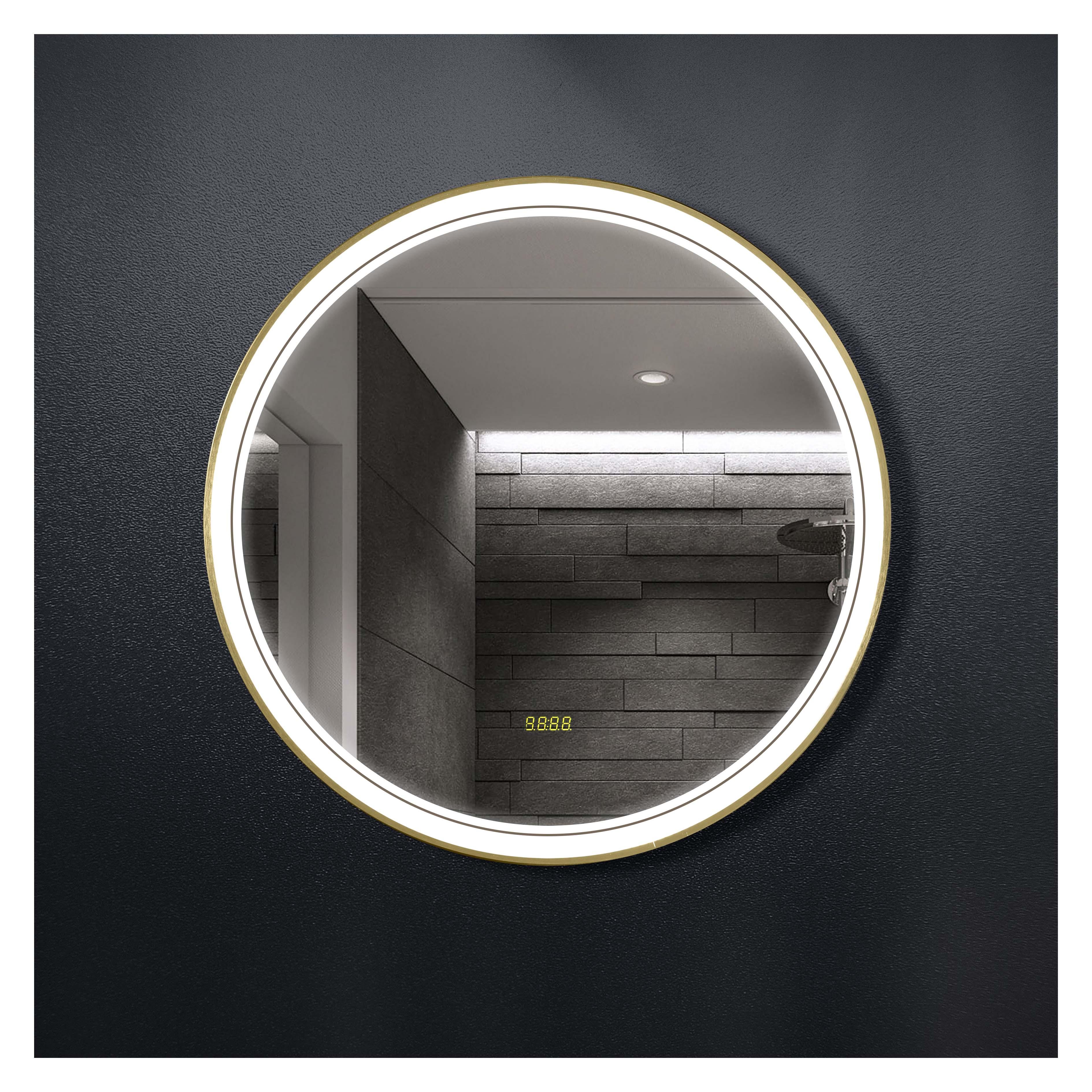 厂家吉品铝合金圆框直径700手扫开关加时间显示智能镜